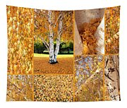 Golden Weeping Birch Tree Collage Tapestry