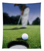 Golf Ball Near Cup Tapestry