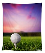 Golf Ball On Tee At Sunset Tapestry