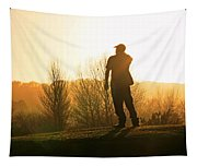 Golfer At Sunset Tapestry