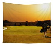 Golfer Walking On A Golf Course Tapestry