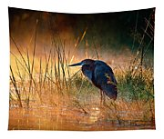 Goliath Heron With Sunrise Over Misty River Tapestry