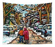 Good Day In January For Winter Stroll Snowy Trees And Cars Verdun Street Scene Painting Montreal Art Tapestry