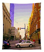 Good Morning Drive By Yonge St Starbucks Toronto City Scape Paintings Canadian Urban Art C Spandau  Tapestry
