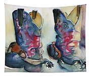 Cowboy Boots In Watercolor Good Ride Tapestry