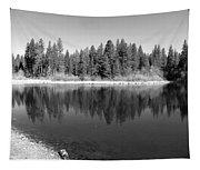 Grace Lake Reflections In Black And White Tapestry