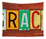 Grace License Plate Name Sign Fun Kid Room Decor. Tapestry
