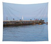 Graffiti Fishing Wall Barcelona Spain Tapestry