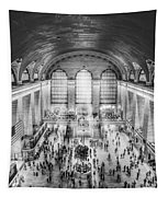Grand Central Terminal Birds Eye View Bw Tapestry