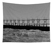Grand Haven Light In Black And White Tapestry