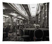 Grand Salon 05 Queen Mary Ocean Liner Bw Tapestry