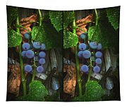Grapes On The Vine - Gently Cross Your Eyes And Focus On The Middle Image Tapestry