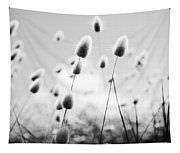 Grass Field Black And White Tapestry