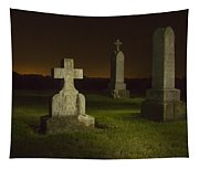 Gravestones At Night Painted With Light Tapestry