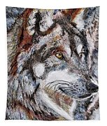 Gray Wolf Watches And Waits Tapestry