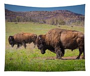 Grazing Bison Tapestry