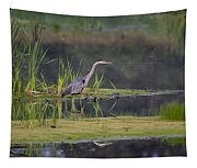 Great Blue Heron At Down East Maine Wetland Tapestry