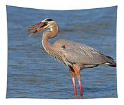 Great Blue Heron Flipping A Shrimp Tapestry