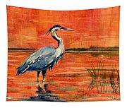 Great Blue Heron In Marsh Tapestry