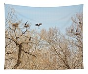 Great Blue Heron Nest Building 1 Tapestry
