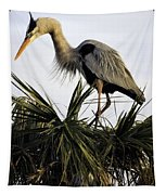Great Blue Heron On Palm Tapestry