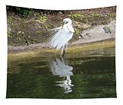 Great Egret In The Lake Tapestry