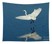 Great Egret Landing Tapestry