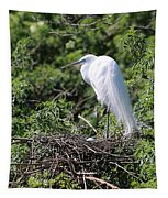 Great Egret Nest Tapestry