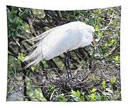 Great Egret On Nest Tapestry