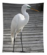 Great Egret On The Pier Tapestry