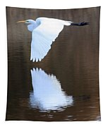 Great Egret Over The Pond Tapestry