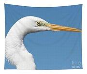 Great Egret Profile Against Blue Sky Tapestry