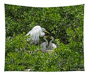 Great Egret With Chicks On The Nest Tapestry