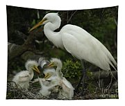 Great Egret With Young Tapestry