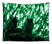 Great Horned Owl And Owlet Tapestry
