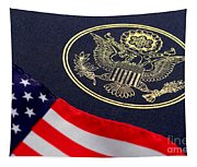 Great Seal Of The United States And American Flag Tapestry