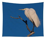 Great White Egret On A Snag Tapestry