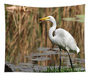 Great White Egret Taking A Stroll Tapestry