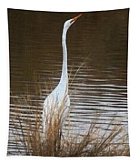 Greater Egret Posturing Tapestry