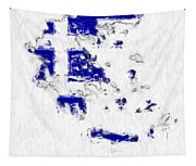 Greece Painted Flag Map Tapestry