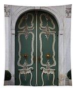 Green Door In Gdansk Tapestry