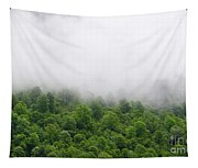 Green Forest With Clouds Tapestry