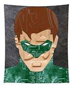 Green Lantern Superhero Portrait Recycled License Plate Art Tapestry