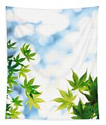 Green Leaves On Mottled Cloudy Sky Tapestry