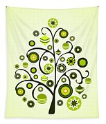 Green Ornaments Tapestry