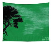 Green Sky Sunset Tapestry