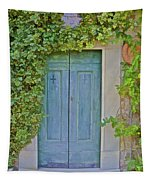 Green Wood Door Of Tuscany Tapestry