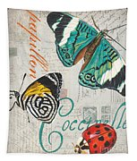 Grey Postcard Butterflies 2 Tapestry by Debbie DeWitt