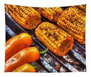 Grilling Corn And Peppers Tapestry