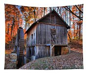 Grist Mill Under Fall Foliage Tapestry
